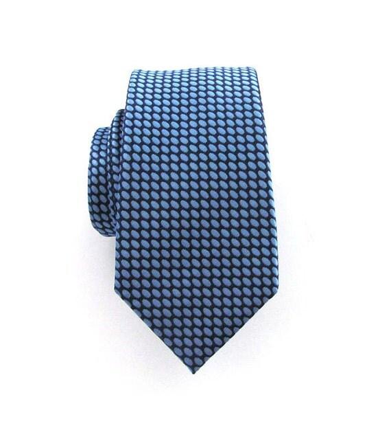 Mens Necktie Blue Oval Skinny Silk Tie