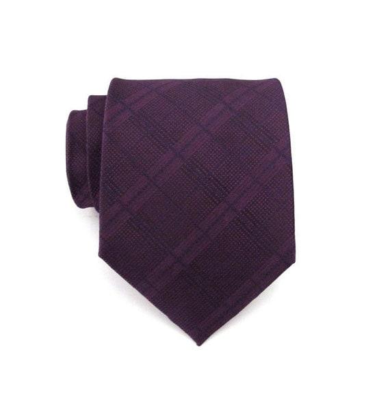 Mens Tie - Dark Purple Plaid Silk Necktie