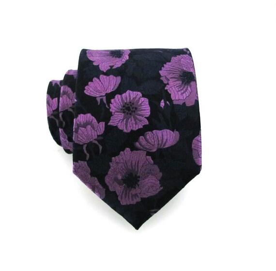 Mens Tie - Purple and Black Poppy Silk Necktie