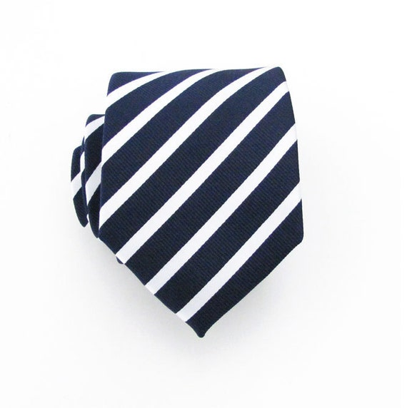 Mens Tie - Navy Blue and White Striped Silk Necktie