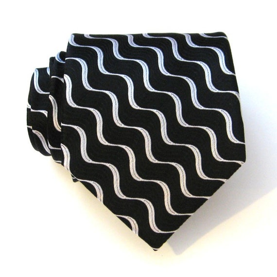 Necktie Black and Silver Mens Silk Tie