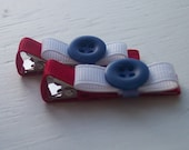 Red White and Blue Button Clip