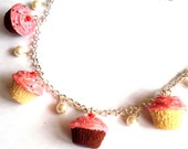 Cupcake Necklace Homemade Cupcake Charm Necklace - Miniature Food Jewelry