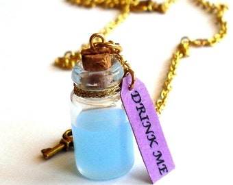 Drink Me Necklace Drink Me Bottle Alice in Wonderland Necklace Wonderland Jewelry