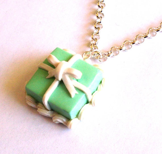 Tiffany Box Cake Necklace