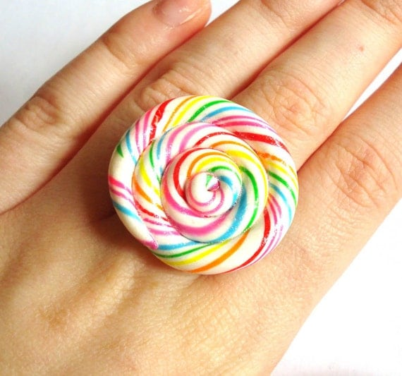 Lollipop Ring Big Rainbow Lollipop Ring Candy Ring Rainbow Jewelry