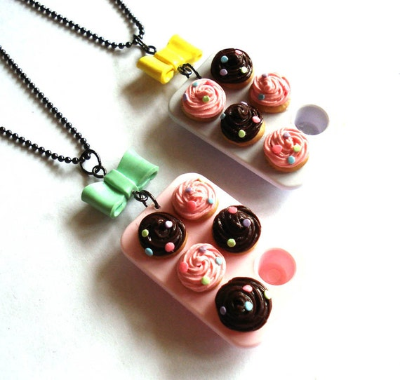 Pastel Cupcake Tray Necklace