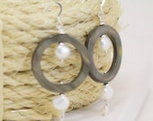 CLEARANCE - EARRINGS - Tiny Bubbles - Freshwater Pearls and Circle Shell Beads