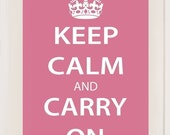 13x19 Keep Calm and Carry On, WWII Inspired Poster - Pink for Breast Cancer Awareness