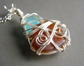 Seaglass Necklace - wire wrapped - brown and light blue genuine sea glass