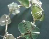 Seaglass bracelet - wire wrapped - white, aqua, light green genuine sea glass