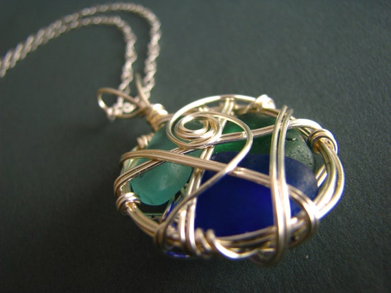 Seaglass Necklace - wire wrapped - teal, cobalt and light blue genuine sea glass shards
