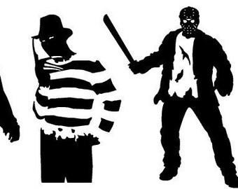 Freddy Krueger and Jason Voorhees Vinyl Decal sticker lot