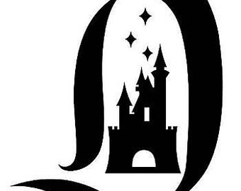 Disneyland , letter D vinyl decal, with castle in the center