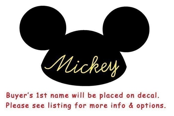 Disneyland,  Mickey  Ears  Vinyl  Decal  with  Your  Name or  Word  placed  on  it