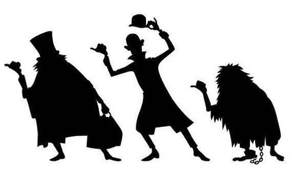 The Haunted Mansion - vinyl decals, Hitchhiking Ghosts silhouettes Pixar Character Silhouettes