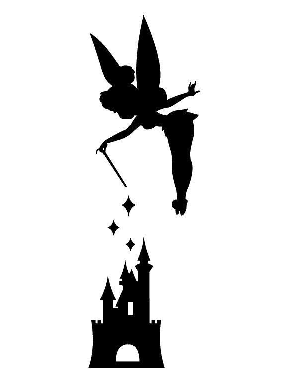 Tinker bell with disneyland castle vinyl decal sticker for Tinkerbell pumpkin template free