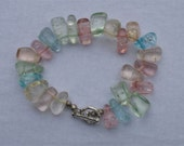 Teardrop Crystal and Colourful stone Bracelet-Pink white Stone