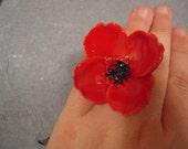 Large Red Poppy Flower Ring