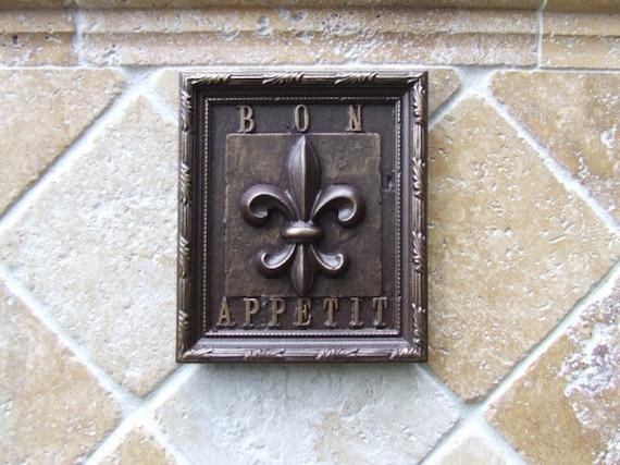 Fleur De Lis Kitchen Tile/Plaque Oil Rubbed Bronze Finish
