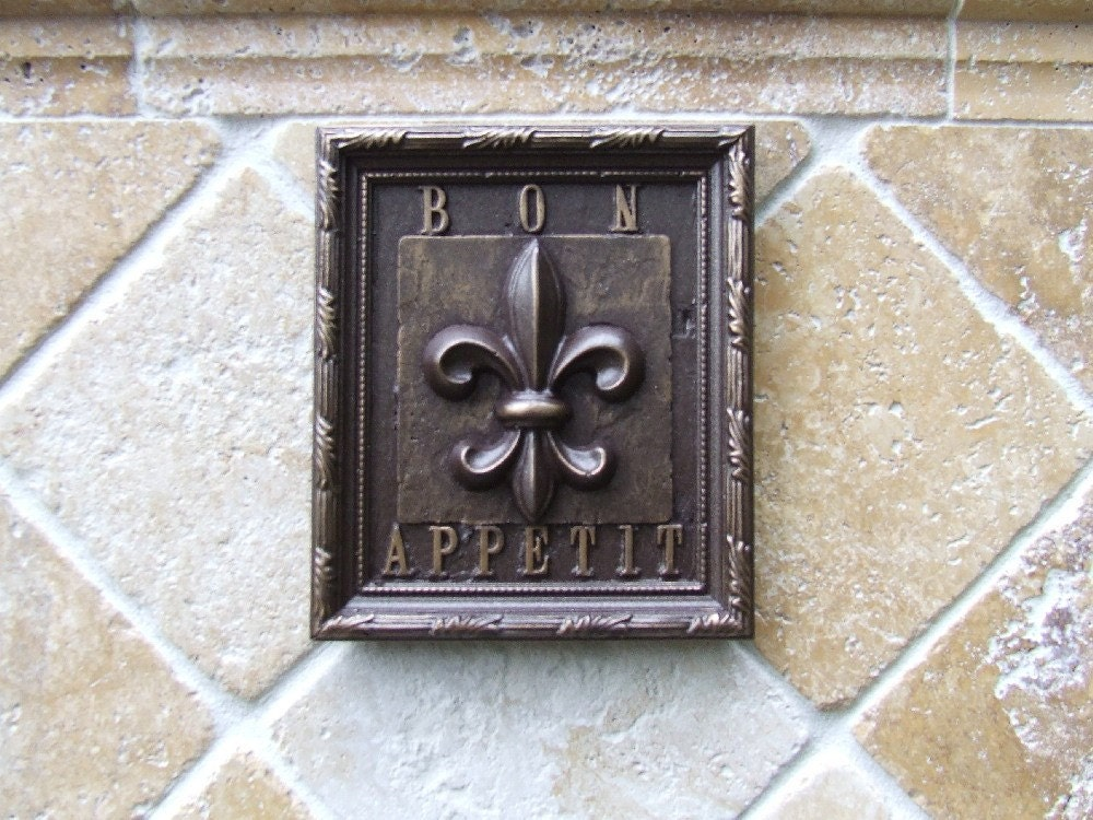 Fleur De Lis Kitchen Tile Plaque Oil Rubbed By