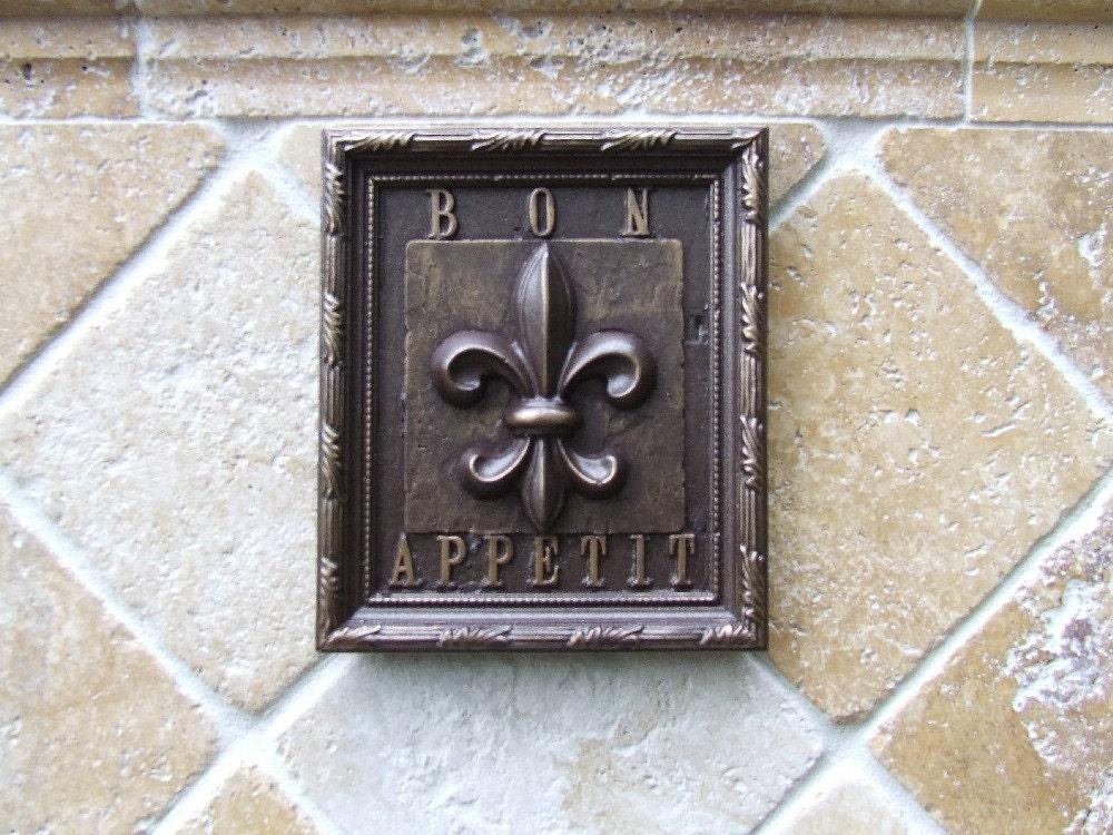 fleur de lis kitchen tile plaque oil rubbed bronze finish. Black Bedroom Furniture Sets. Home Design Ideas