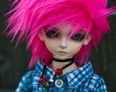 Akasarushi Hot PINK Color Fur Wig Made for abjd doll size SD MSD tiny yosd and puki