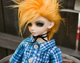 Akasarushi Golden YELLOW Color Fur Wig Made for abjd doll size SD MSD tiny yosd and puki