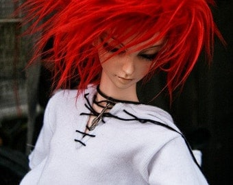 Akasarushi Intense CORAL Color Fur Wig Made for abjd doll size SD MSD tiny yosd and puki