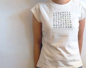 MAKE PEACE Word Find T-shirt - Natural Unbleached Size Small - Personalized
