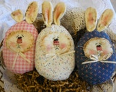 Easter bunny Egg-lettes trio. bunnies primitive bowl fillers easter rabbits ornies