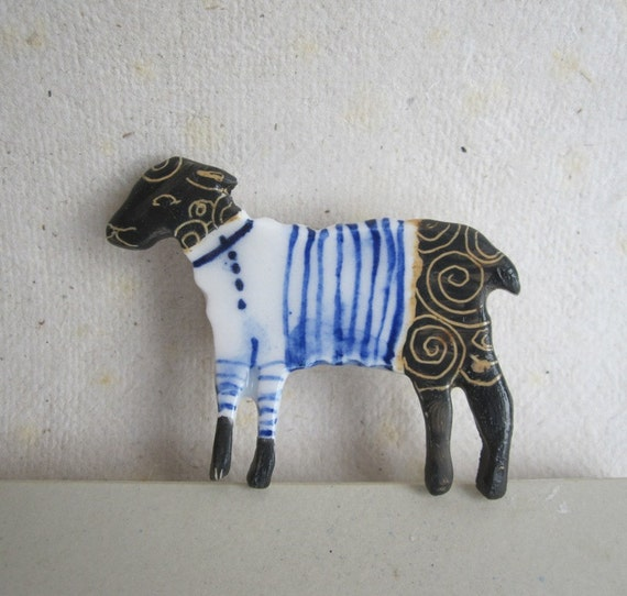 Black sheep wearing Breton Stripes - Handformed and Handpainted Porcelain Brooch