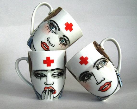 Night Nurse -  handpainted porcelain mug