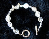 Handmade Bracelet with Toggle Clasp in White