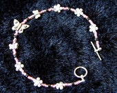 Handmade Bracelet with Toggle Clasp in Pink and Butterflies