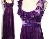 Vintage Velvet Dress Purple Lavender Cocktail Gown S