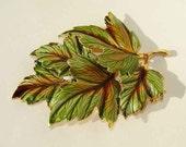 Vintage 60s Weiss Brooch Green Enamel Maple Leaf Branch Pin