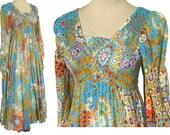 Vintage 70s Dress Floral Maxi Patio Hippie Boho Cotton Gauze S XS