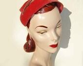 Vintage Hat 50s Red Pink Velour Lucy Beaded Pearl Velvet Cap