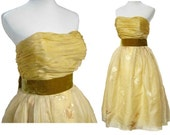 Vintage Jacques Heim Dress 50s Strapless Couture Olive & Gold Brocade Silk M - Jeunes Filles Collection