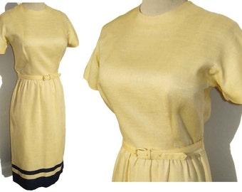 Vintage Sport Whirl Dress Yellow Linen Navy Blue NOS - M