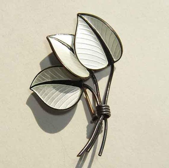 Vintage Brooch 60s Modernist Scharning Sterling Guilloche Enamel Leaf Pin