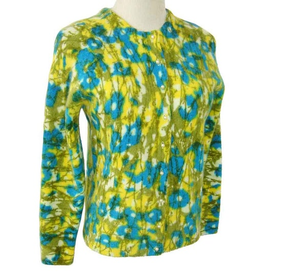Vintage 60s Mod Sweater Cardigan Lambswool Angora Blue Green Yellow Floral - M