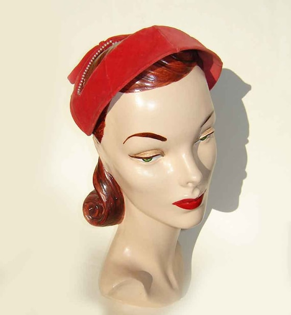 Vintage Hat 50s Red Pink Velour Lucy Beaded Pearl Velvet Cap
