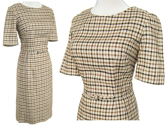 Vintage Vera Maxwell Dress Plaid Black & Brown Windowpane Secretary NOS - S
