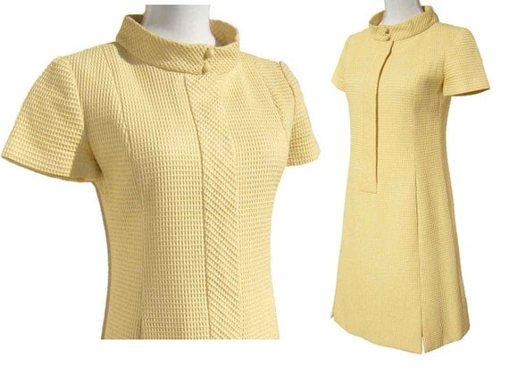 Vintage 60s Mod Dress Chester Weinberg Yellow Cotton Waffle Shift M