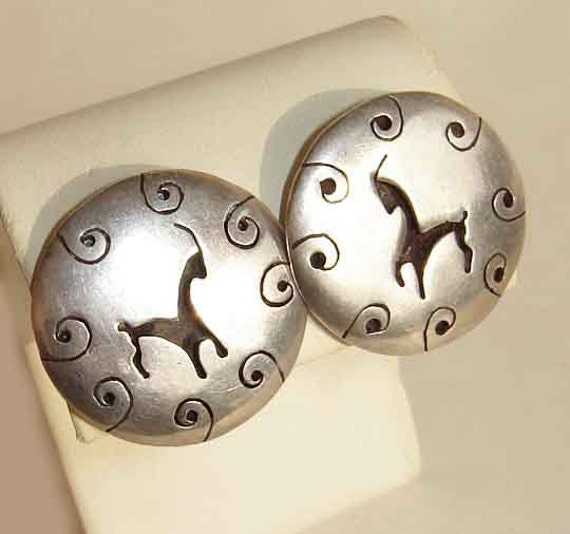 Vintage Earrings 40s Mexican Goat Antelope Sterling Silver Novelty Shadowbox
