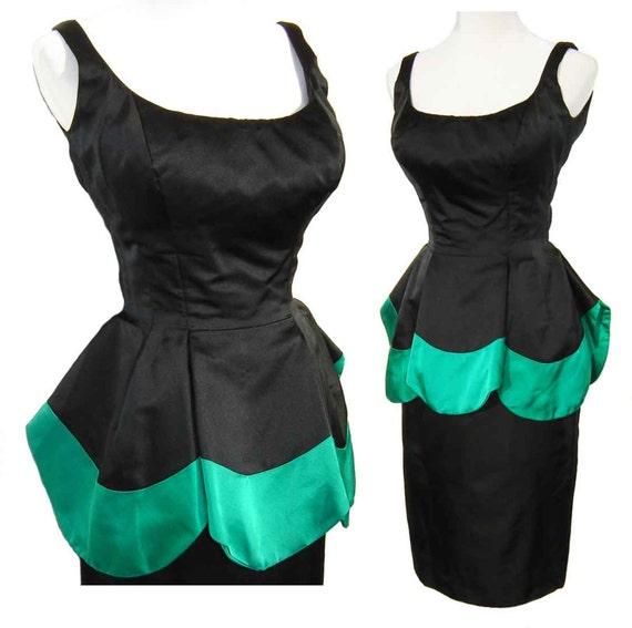 Vintage 60s Dress Mignon Hourglass Black & Green Silk Peplum Petal Cocktail LBD S / M