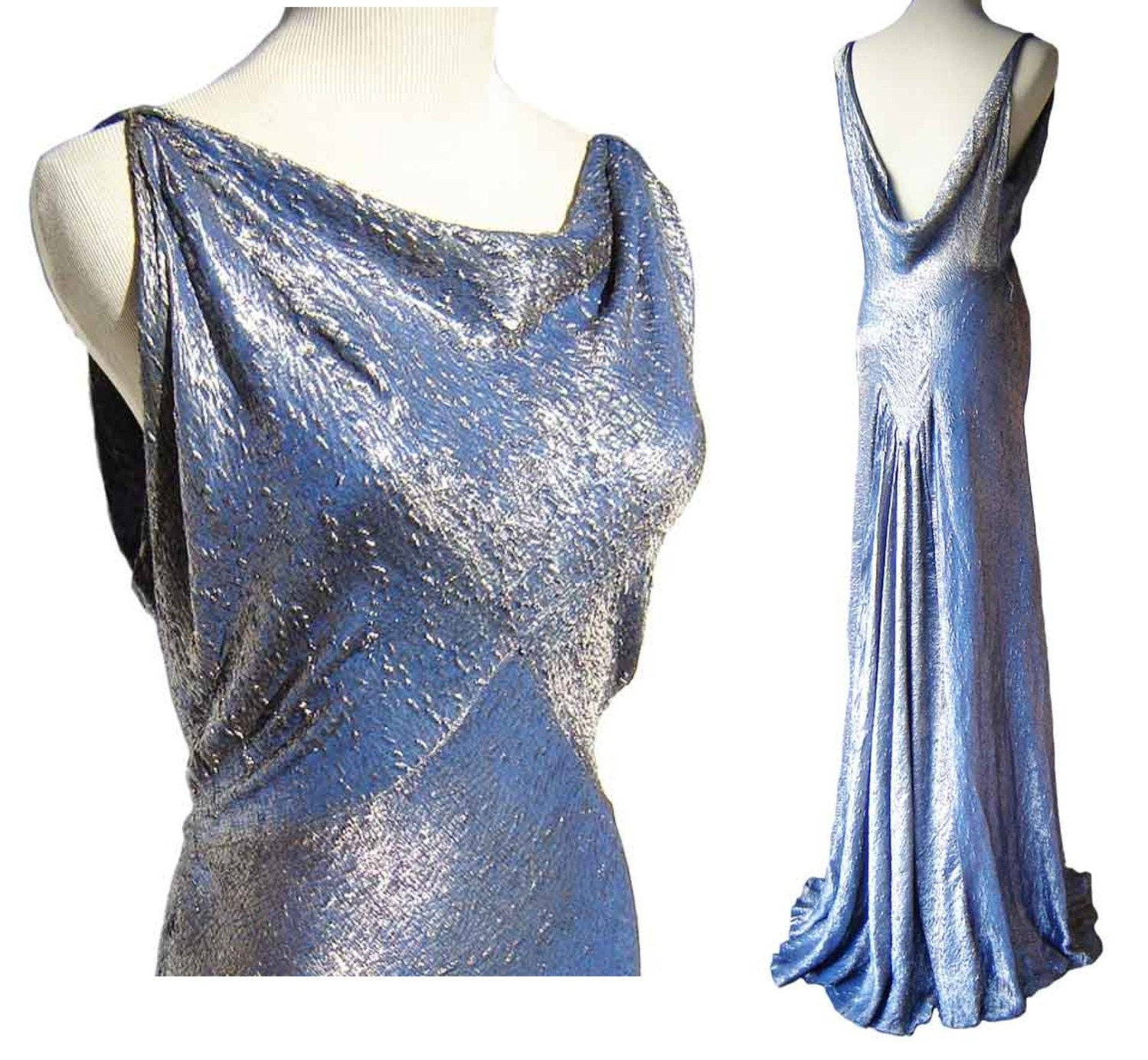 Vintage 30s Blue Silver Silk Brocade Jean Harlow Evening Gown