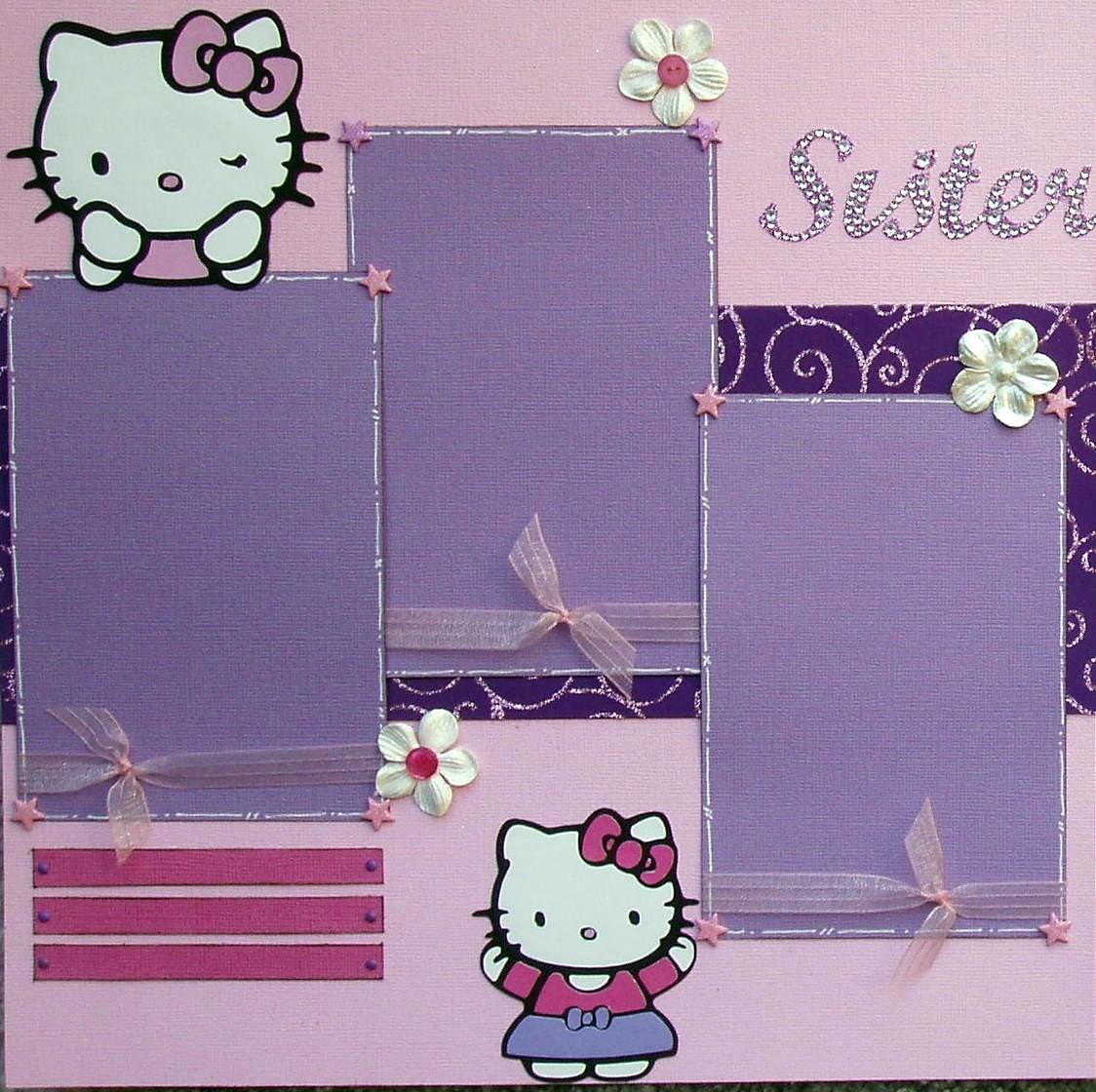 Hello kitty scrapbook ideas -  Scrapbook Layout Sisters Featuring Hello Kitty Zoom